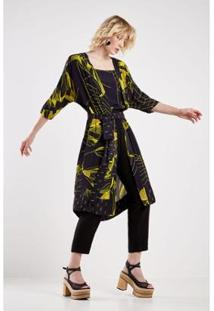 Kimono Sacada Est Floral Croqui Feminino - Feminino-Preto+Amarelo