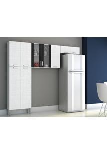 Cozinha Compacta Alfa 9 Portas Linho Branco/Preto - Kits Paraná