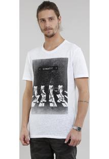 Camiseta Masculina Astronauta Manga Curta Gola Careca Branca