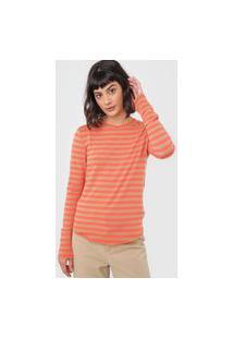 Blusa Gap Listrada Coral/Caramelo