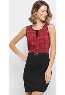 Vestido Pérola Curto Estampado - Feminino-Vermelho