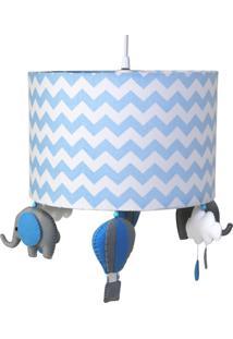 Lustre Tubular Elefante Quarto Bebê Infantil Menino Potinho De Mel Azul - Kanui