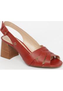 Sandália Em Couro- Vermelha & Marrom- Salto: 8,5Cmcapodarte