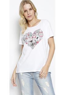"""Camiseta """"Carimbos"""" - Branca & Vermelhacanal"""