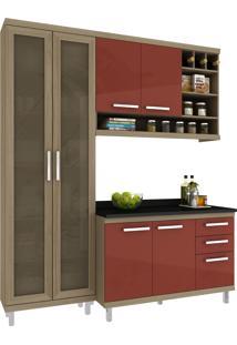 Cozinha New Vitoria 10 Avelã Hecol Móveis Marrom/Vermelho