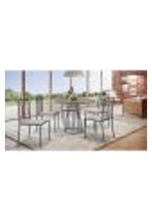 Conjunto De Mesa De Jantar Marrocos Com Tampo Siena E 5 Cadeiras Atos Couríssimo Linho Bege E Grafite