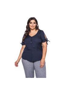 Blusa Almaria Plus Size Pianeta Devorê Azul Marinho