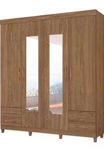 Guarda Roupa Diamante C/ Espelho 4 Portas Canela Albatroz - Tricae