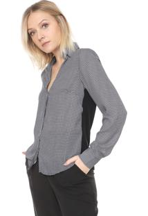 Camisa Ana Hickmann Pied De Poule Preta/Branca