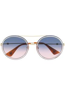Gucci Eyewear Óculos De Sol Redondo - Dourado