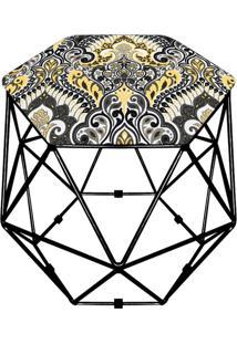 Puff D'Rossi Decorativo Aramado Geométrico Hexágono D77 Base Preta