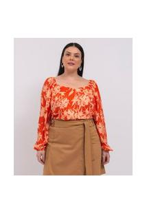 Blusa Floral Com Manga Bufante E Decote Princesa Curve & Plus Size | Ashua Curve E Plus Size | Laranja | Gg