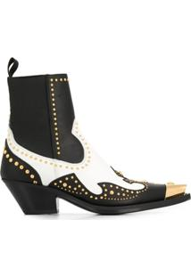 Versace Ankle Boot Com Tachas - Preto