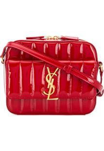 Saint Laurent Bolsa Transversal 'Vicky' De Couro - Vermelho