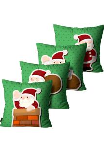 Kit 4 Capas Para Almofadas Mdecore Natal Papai Noel Verde 45X45Cm