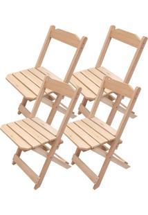 Kit 4 Cadeiras Dobrável Madeira Natural Para Bar E Restaurante