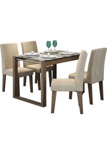 Conjunto Mesa De Jantar Anita 1,20M Com 4 Cadeiras Milena Marrocos Tecido Sued Bege Cimol