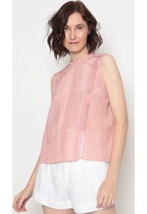 Blusa Em Seda Com Renda- Rosa Claro- Aboutabout