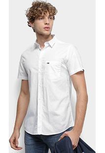 Camisa Manga Curta Tommy Jeans S/S Solid Poplin Shirt Masculina - Masculino-Branco
