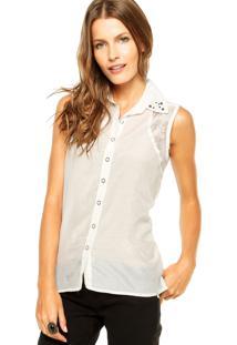 Camisa Enfim Gola Contas Off-White
