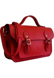 Bolsa Line Store Leather Satchel Pequena Couro Vermelho
