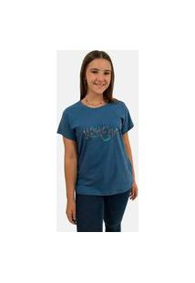 T-Shirt Camiseta Feminina Girlboss Manga Curta Azul