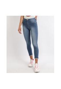Calça Jeans Feminina Sawary Skinny Cropped Push Up Barra Virada Cintura Alta Azul Médio