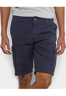 Bermuda Jeans Hang Loose Bolso Faca Masculina - Masculino-Marinho