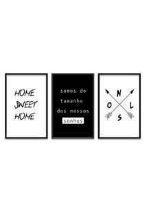 Quadro Oppen House 60X120Cm Home Sweet Home Moldura Preta Sem Vidro - Oppen House Decora