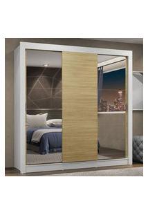 Guarda-Roupa Casal Madesa Lyon Plus 3 Portas De Correr Com Espelhos 4 Gavetas Branco/Carvalho Branco