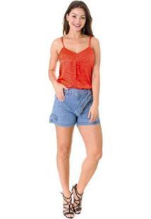 Shorts Jeans Opera Rock Mul Pocket Feminino - Feminino-Azul