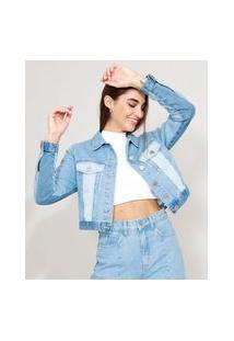Jaqueta Jeans Cropped Com Recortes Azul Médio