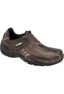Sapatênis De Couro Tchwm Shoes Com Fechamento Em Velcro - Masculino-Marrom