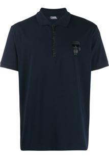 Karl Lagerfeld Camisa Polo Com Detalhe De Zíper - Azul