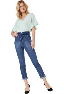 Calça Jeans Slim Cintura Alta Cinto