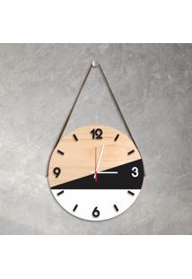 Relógio De Parede Decorativo Adnet Branco E Preto Com Números Em Relevo Médio