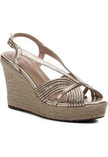 Sandália Anabela Shoestock Metalizada Corda Feminina - Feminino-Dourado