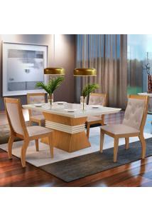 Mesa De Jantar Ágata 1,20M Com Vidro Offwhite + 4 Cadeiras Agata Linho Rústico - Imbuia Mel
