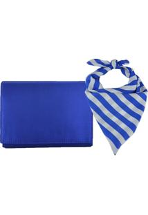 Bolsa Clutch E Lenço Listrado Azul