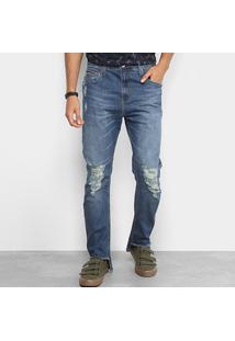 Calça Jeans Colcci Enrico Barra Recortada Rasgos Masculina - Masculino