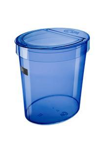 Lixeira Oval Glass 26,2 X 18,4 X 24,6 Cm 5 L Azul Coza Azul Coza