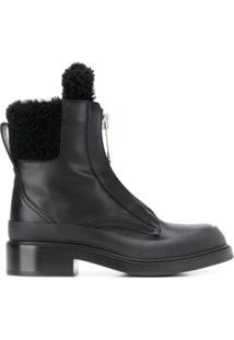 Chloé Ankle Boot Com Acabamento Em Pelos - Preto