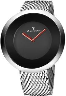 Relógio Analógico Com Relevo Jv00081A- Prateado & Preto