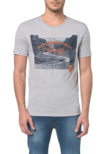 Camiseta Ckj Mc Estampa Imagem Escritos - Mescla - Pp