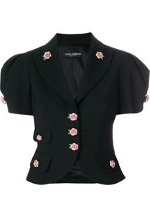 Dolce & Gabbana Jaqueta Cropped Com Botões Decorativos - Preto