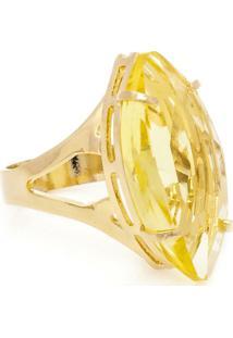 Anel Banho De Ouro Cristal Navete - Feminino-Amarelo