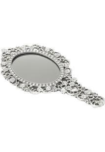 Espelho De Mão Secret Em Relevo- Espelhado & Prateado