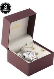 Kit 3 Pçs Relógio Champion Cn28705E Prata/Dourado