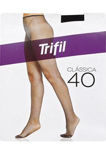 Meia Calça Trifil Arrastão - Feminino-Preto