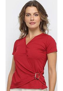 Blusa Los Wear Canelada Transpassada Com Fivela Feminina - Feminino-Vermelho